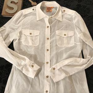 Tory Burch Sz 8 White Linen Shirt Gold TB Buttons